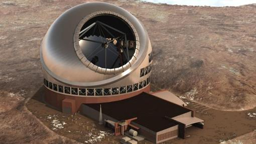 Recreación del Gran Telescopio de 30 metros (TMT)