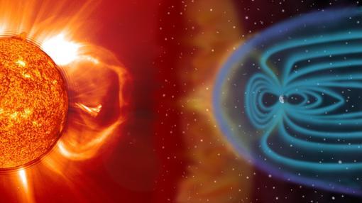 Las tormentas solares son amortiguadas en parte por el campo magnético terrestre (en azul)