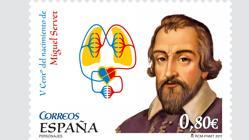 Sello conmemorativo del descubrimiento de la circulación menor de la sangre