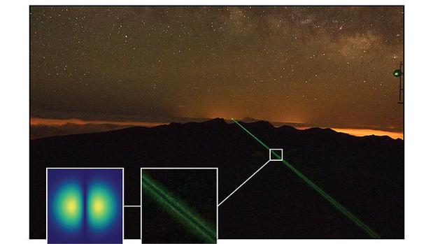 «Luz retorcida» recorriendo la distancia de 143 kilómeros entre las islas, en tan solo cinco milésimas de segundo