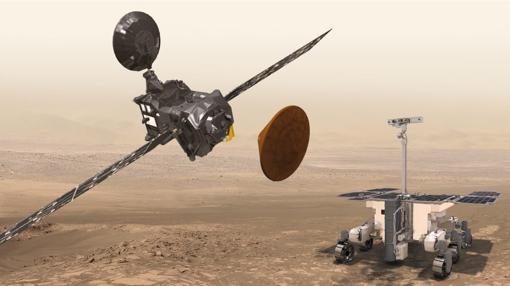 Miembros del programa ExoMars. La sonda TGO (izquierda), el módulo de aterrizaje experimental Schiaparelli (centro) y rover de exploración, cuyo lanzamiento está previsto para 2020