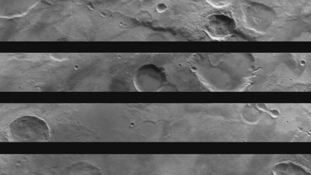 Una de las fotografías captadas. Cada rectángulo ha sido captado por un «filtro» distinto. La imagen final es una composición de las cuatro