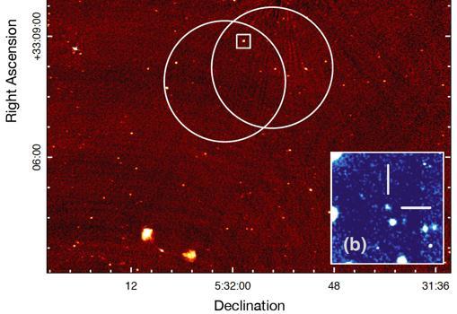 Posición de la galaxia deorigen del estallido FRB 121102 (en el recuadro azul ampliado desde el pequeño cuadrado blanco de la izquierda)