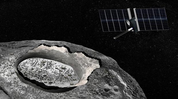 Representación de la misión Psyche, que la NASA lanzará en 2023, para explorar el asteroide 16 Psyche