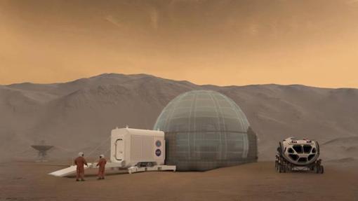 Representación artística del diseño de la «Mars Ice Dome»
