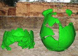 Reconstrucción virtual de los cráneos sobre el yacimiento donde fueron encontrados