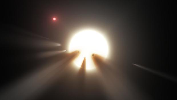 Representación de la estrella de Tabby, rodeada por cometas