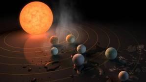 Recreación del sistema Trappist-1 con sus siete planetas