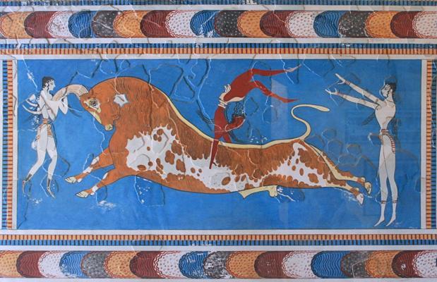 Fresco minoico procedente del gran palacio de Knossos