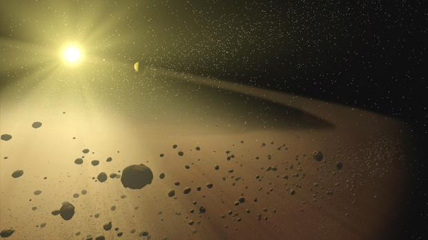 Representación de un sistema solar lejano