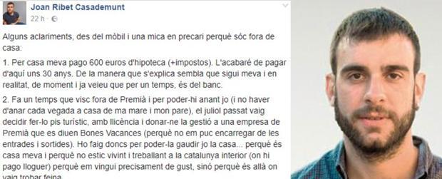 Captura del mensaje publicado por Joan Ribet en Facebook que después fue eliminado