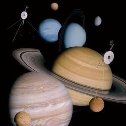 Todas las lunas y mundos explorados por las dos naves Voyager