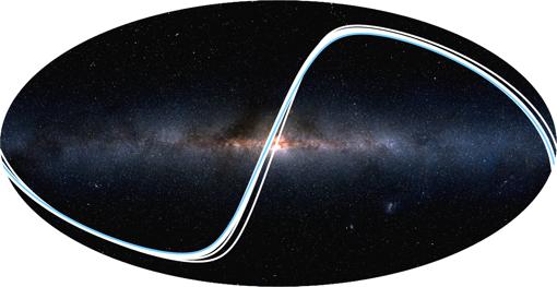 La imagen muestra desde dónde pueden observarse los tránsitos de los planetas del Sistema Solar. Cada línea representa un mundo y la Tierra es la línea azul