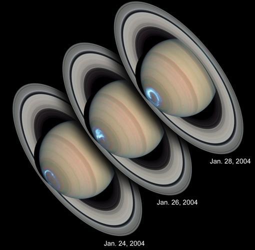 Auroras en Saturno, cuyo origen no está claro. No están provocadas por el viento solar, sino por el campo magnético del planeta, 578 veces más potente que el de la Tierra