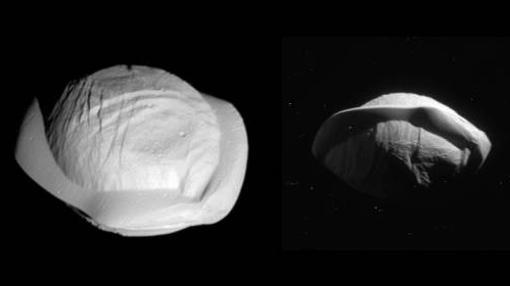 Pan tiene forma de ravioli. Parece ser que en su ecuador se ha acumulado hielo y otros materiales procedentes de los anillos de Saturno