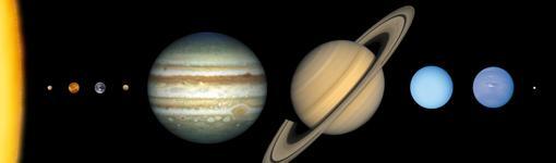 Comparativa de tamaños de los principales cuerpos del Sistema Solar