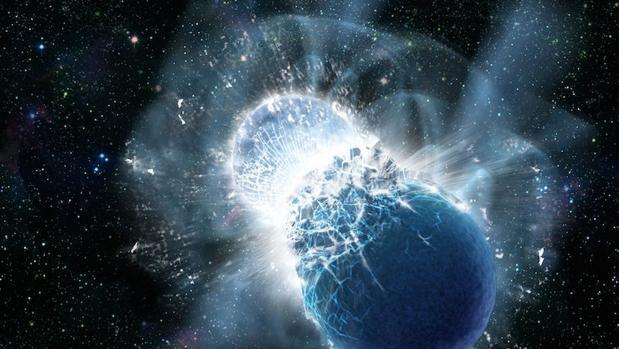 Una posibilidad es que se haya detectado la fusión de estrellas de neutrones (en la imagen)