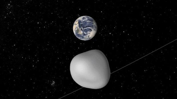 Recreación del asteroide 2012 TC4 a su paso por las cercanías de la Tierra