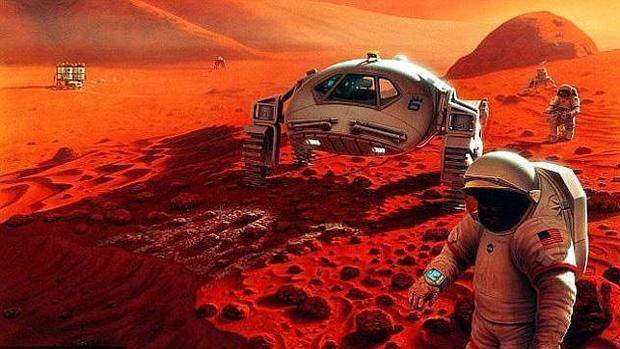 Ilustración de futuros colonos en Marte