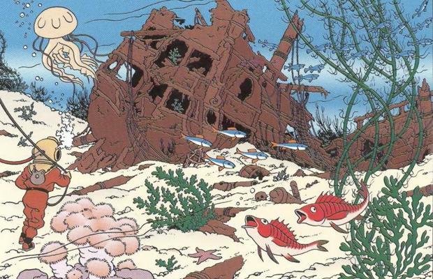 El capitán Haddock y Tintín tuvieron problemas para encontrar un barco en «El tesoro de Rackham el Rojo» a causa de una confusión con el meridiano