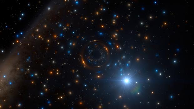 Recreación del agujero negro, el primero con masa estelar inactivo de este tipo detectado en un cúmulo globular