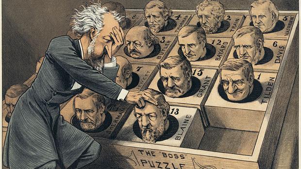"«The Great Presidential Puzzle""», parodia política del famoso puzle del quince"
