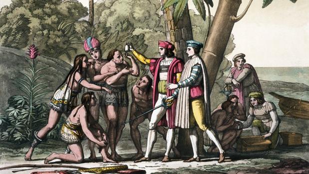 Primer encuentro tras la llegada de Colón al Nuevo Mundo