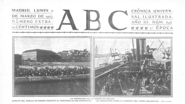 Portada de ABC en el 11 de marzo de 1907 en la que se relata la partida de inmigrantes españoles a bordo de SS Heliópolis desde el puerto de Málaga