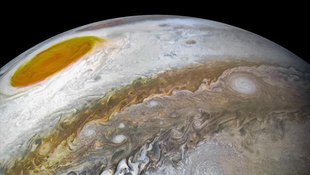 Superficie de Júpiter, en la que es visible la Gran Mancha Roja