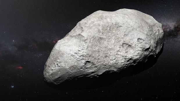 Representación de «2004 EW95». Está compuesto por carbono y roca, a diferencia de los otros cuerpos conocidos del cinturón de Kuiper, el lugar donde se ha hallado