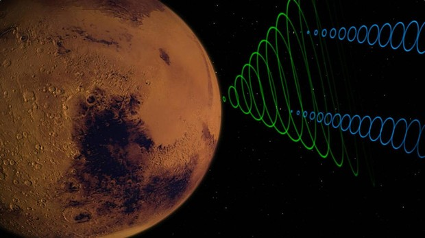 Recreación de las naves MarCO CubeSats transmitiendo datos del aterrizaje de InSight de la NASA ingrensando en la atmósfera de Marte