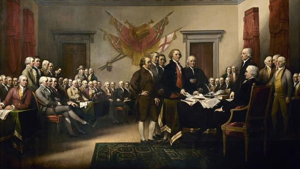 Presentación de la Declaración de Independencia durante el Segundo Congreso Continental. Obra de John Trumbull
