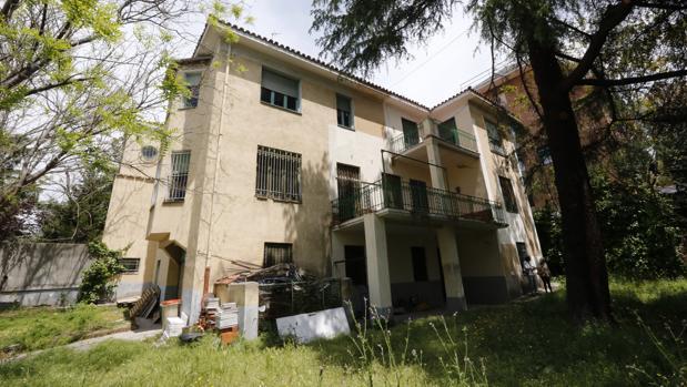 El patio de la casa, donde se encuentra el cedro libanés, que está protegido (no así la vivienda)