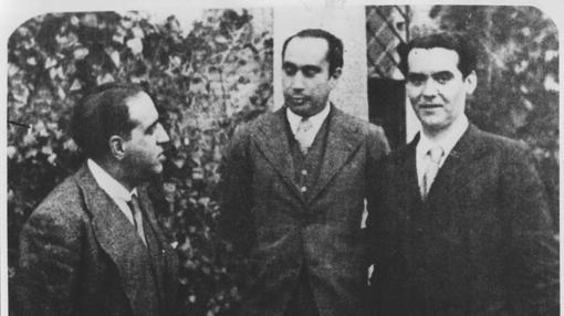 Gregorio Marañón, Francisco Iglesias y Federico García Lorca en 1933