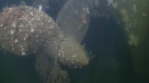 La hélice del submarino hundido en abril de 1940