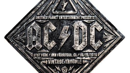Emblema diseñado por Trochut para un concierto de la banda de rock AC/DC