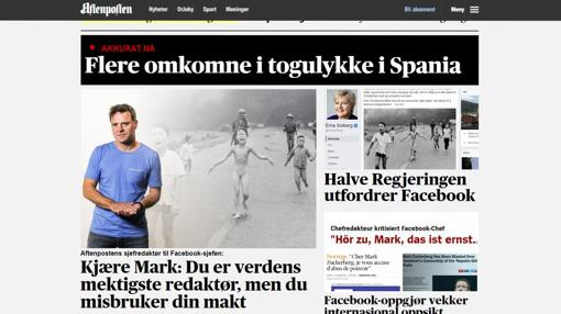 Portada de la edición digital de Aftenposten