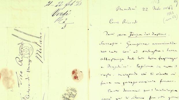 Carta enviada por Verdi a su editor, Giulio Ricordi, desde Madrid en 1863