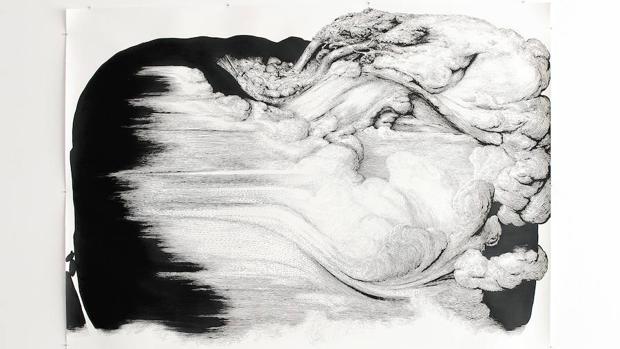 Uno de los papeles de Zurita en la exposición