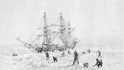 El HMS Terror, dibujado por el capitán George Back