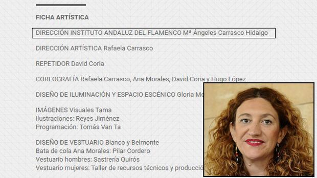 María Ángeles Carrasco aparece como una artista más en la ficha artística