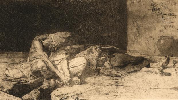«Árabe velando el cuerpo de su amigo», de Mariano Fortuny Marsal