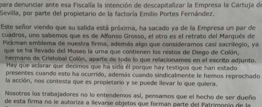 Fragmento de la carta enviada por Carmen Vivero a la Fiscalía en 2009