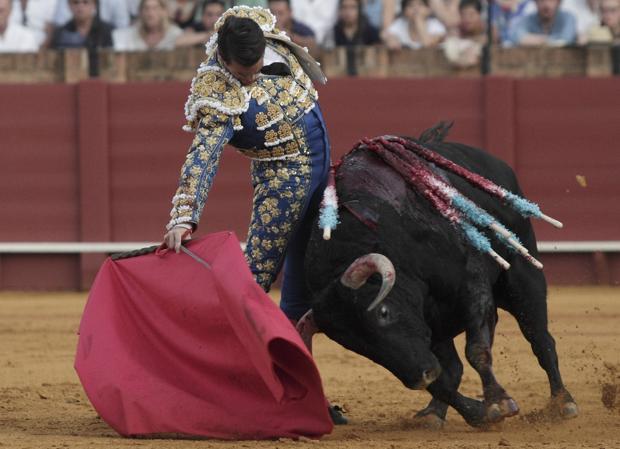 José María Manzanares, en un ajustado derechazo al estupendo quinto toro de Olga Jiménez
