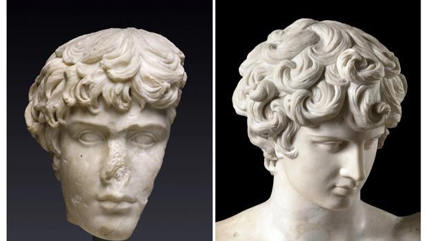 Reconstrucción de un busto de Antinoo junto a la incorporación del rostro