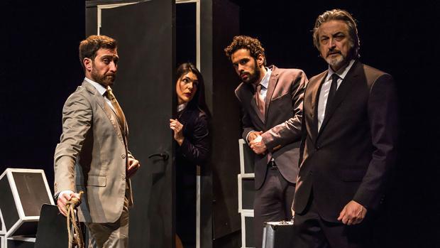 Mabel del Pozo, Juanma Díez, Xoel Fernández y Aníbal Soto, en «Famélica»
