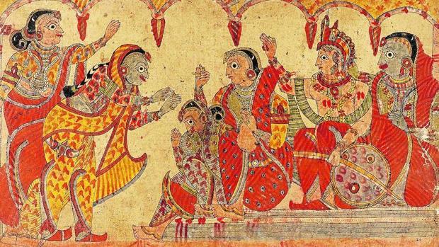 Una ilustración del «Mahabharata» (siglo III a. C.)