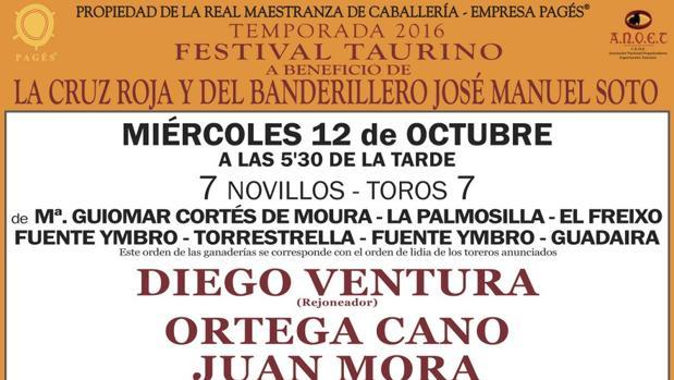 Confirmadas las ganaderías para el festival del 12 de octubre en Sevilla