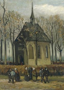 «Los feligreses saliendo de la Iglesia Reformada de Nuenen»