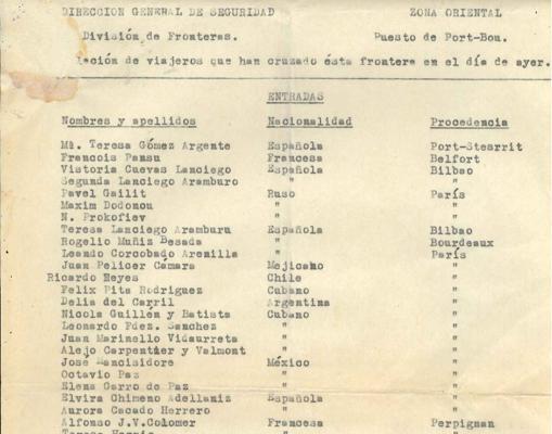 Lista de viajeros del 4 de julio de 1937 que entraron por Port-Bou: Neruda (Ricardo Reyes) y su pareja Delia del Carril, Octavio Paz....